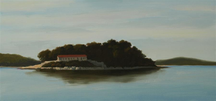 Original art for sale at UGallery.com | Island Home by Rodgers Naylor | $1,150 | oil painting | 12' h x 24' w | ..\art\oil-painting-Island-Home