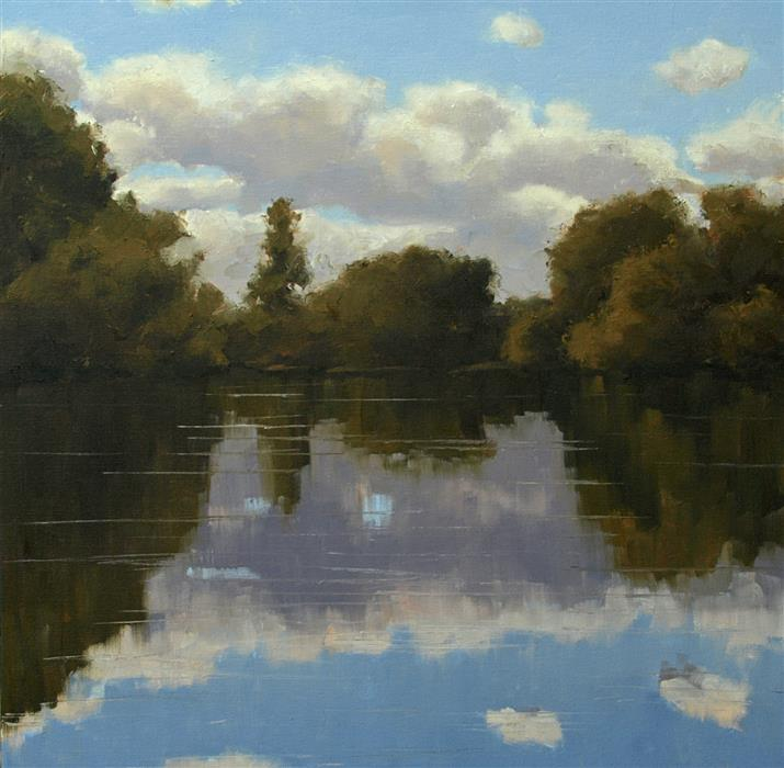 Original art for sale at UGallery.com | View from a Canoe by Rodgers Naylor | $1,600 | oil painting | 20' h x 20' w | ..\art\oil-painting-View-from-a-Canoe