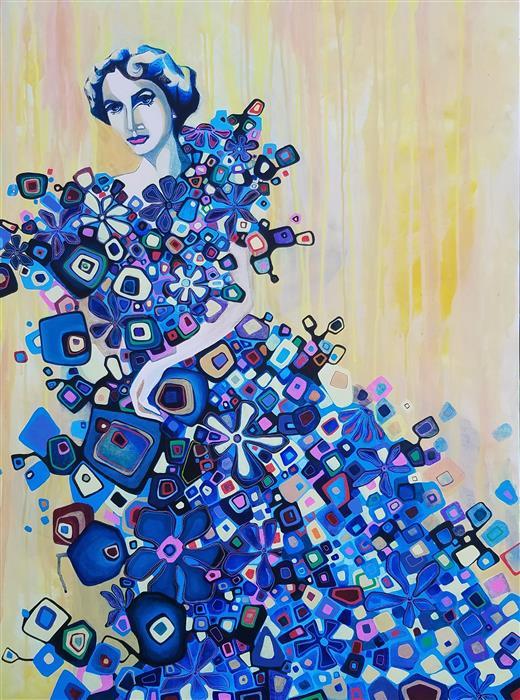 Original art for sale at UGallery.com | Woman in a Blue Dress by Diana Elena Chelaru | $2,475 | acrylic painting | 40' h x 30' w | ..\art\acrylic-painting-Woman-in-a-Blue-Dress
