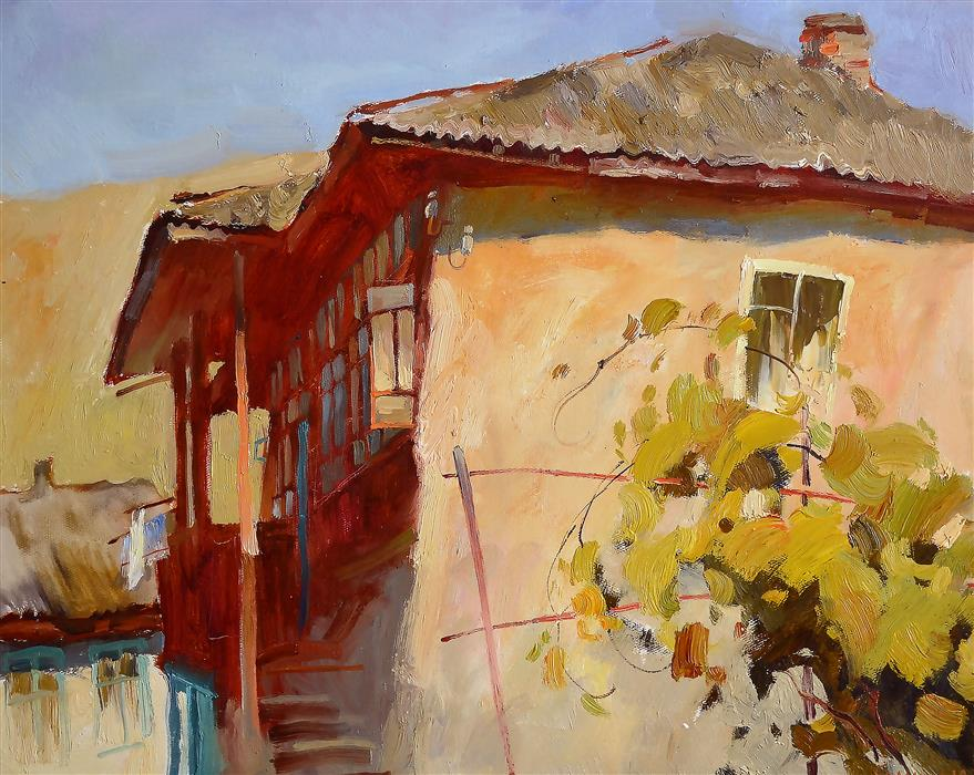 Original art for sale at UGallery.com   House with a Vineyard by Nadia Boldina   $750   oil painting   16' h x 20' w   ..\art\oil-painting-House-with-a-Vineyard