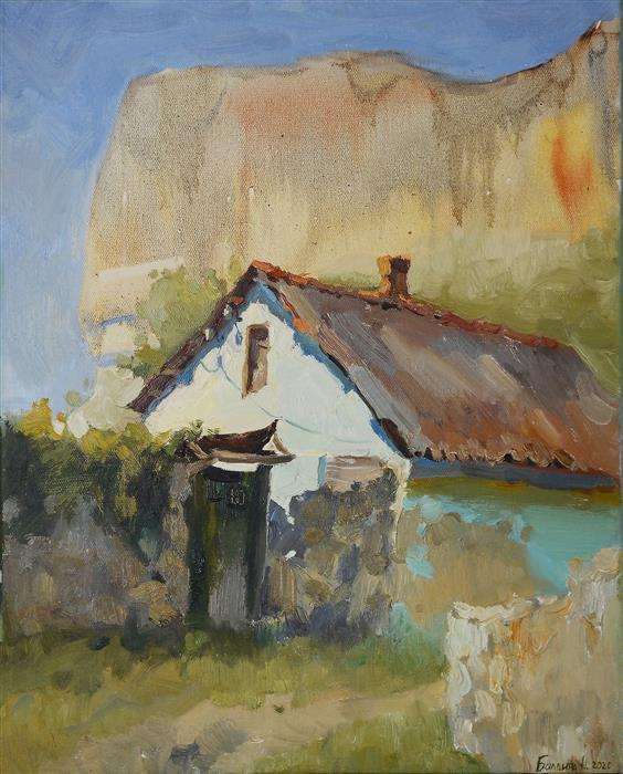 Original art for sale at UGallery.com   House under the Mountain by Nadia Boldina   $750   oil painting   20' h x 16' w   ..\art\oil-painting-House-under-the-Mountain