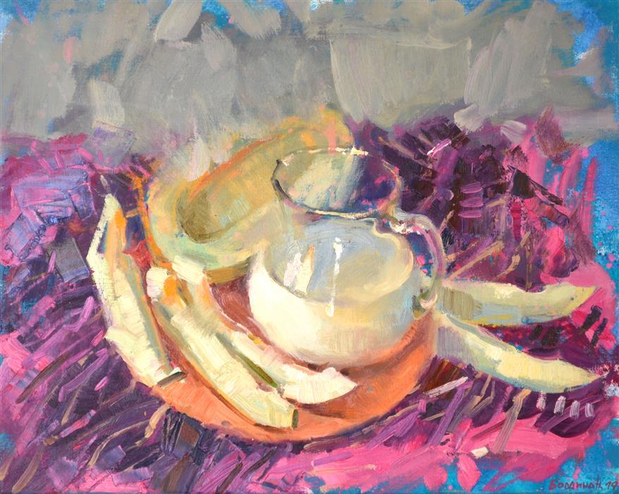 Original art for sale at UGallery.com | Melon and Milk by Nadia Boldina | $750 | mixed media artwork | 16' h x 20' w | ..\art\mixed-media-artwork-Melon-and-Milk