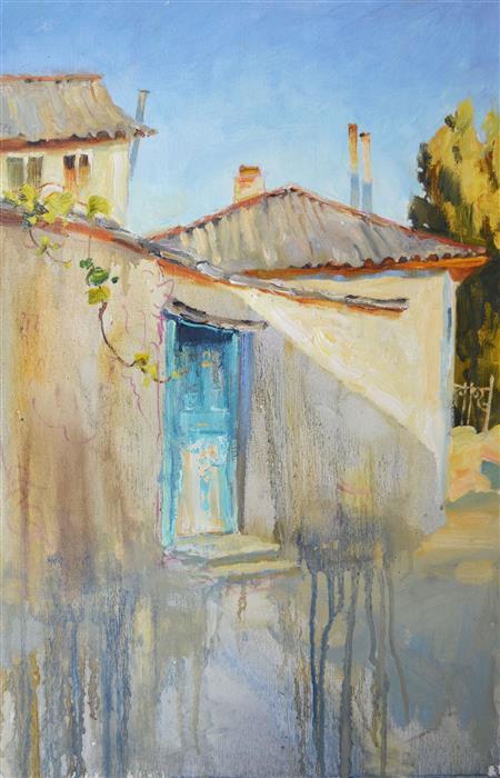 Original art for sale at UGallery.com   Blue Door by Nadia Boldina   $750   oil painting   24' h x 16' w   ..\art\oil-painting-Blue-Door