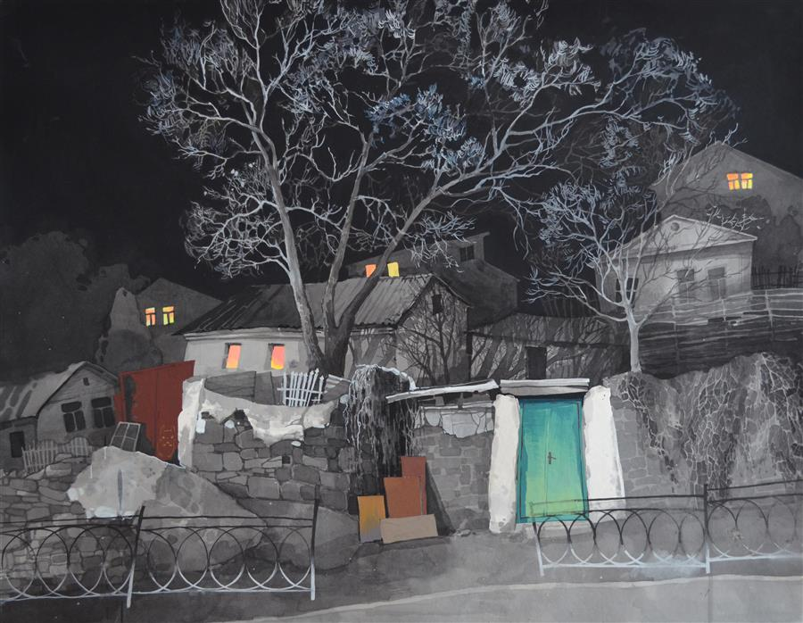 Original art for sale at UGallery.com | Totoro's House by Nadia Boldina | $900 | mixed media artwork | 25' h x 33' w | ..\art\mixed-media-artwork-Totoro-s-House