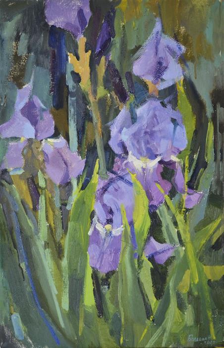 Original art for sale at UGallery.com | Irises by Nadia Boldina | $800 | oil painting | 21' h x 14' w | ..\art\oil-painting-Irises-71582