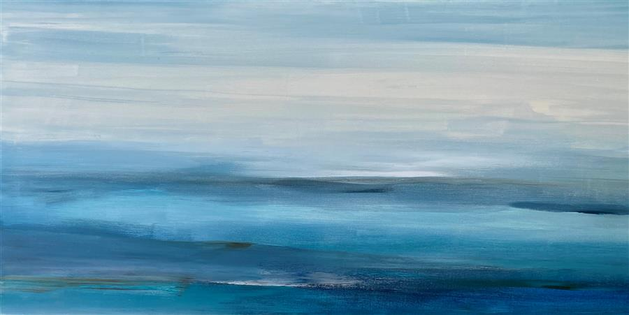 Original art for sale at UGallery.com | In Blue Dreams by Alicia Dunn | $1,700 | acrylic painting | 24' h x 48' w | ..\art\acrylic-painting-In-Blue-Dreams