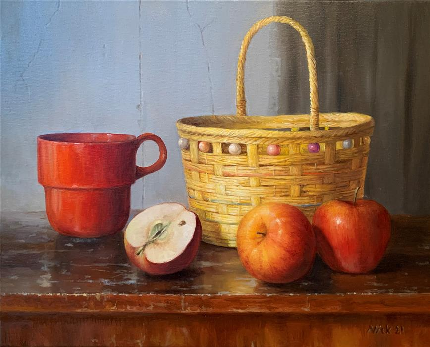 Original art for sale at UGallery.com | Still Life with Red Mug and Apples by Nikolay Rizhankov | $1,300 | oil painting | 16' h x 20' w | ..\art\oil-painting-Still-Life-with-Red-Mug-and-Apples