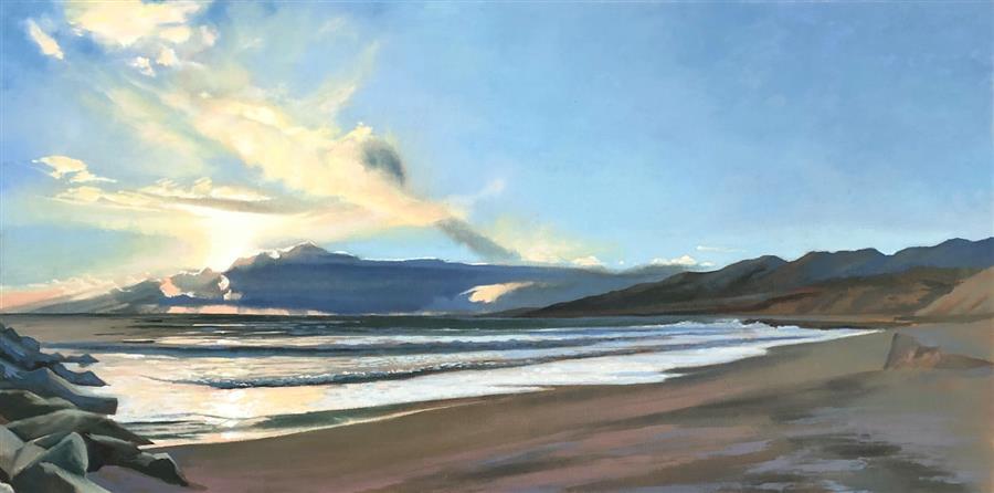 Original art for sale at UGallery.com | Jetties by Jesse Aldana | $1,350 | oil painting | 18' h x 36' w | ..\art\oil-painting-Jetties