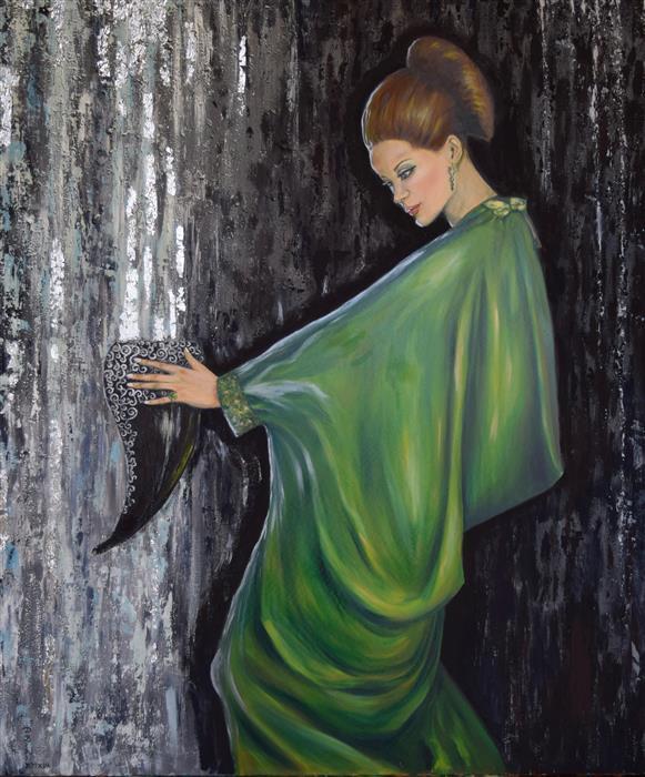 Original art for sale at UGallery.com | Circe by Daniela Bini | $2,900 | mixed media artwork | 47.2' h x 39.4' w | ..\art\mixed-media-artwork-Circe