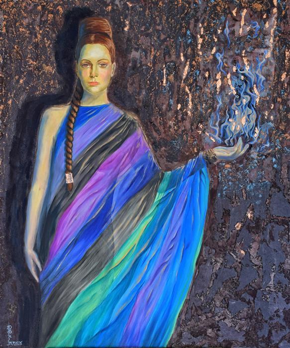 Original art for sale at UGallery.com | Sibyl by Daniela Bini | $3,300 | mixed media artwork | 47.2' h x 39.4' w | ..\art\mixed-media-artwork-Sibyl
