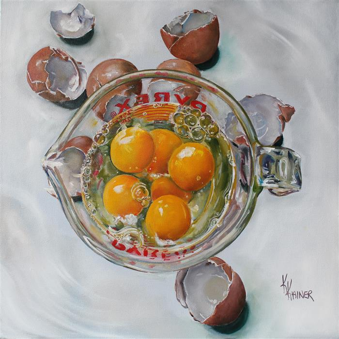 Original art for sale at UGallery.com | Measured Eggs by Kristine Kainer | $1,950 | oil painting | 20' h x 20' w | ..\art\oil-painting-Measured-Eggs