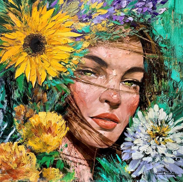 Original art for sale at UGallery.com | Hannah by Eric Alfaro | $5,600 | oil painting | 48' h x 48' w | ..\art\oil-painting-Hannah