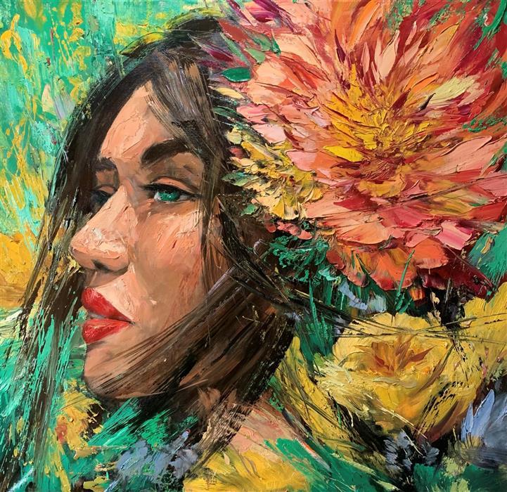 Original art for sale at UGallery.com | Ivonne by Eric Alfaro | $5,600 | oil painting | 48' h x 48' w | ..\art\oil-painting-Ivonne
