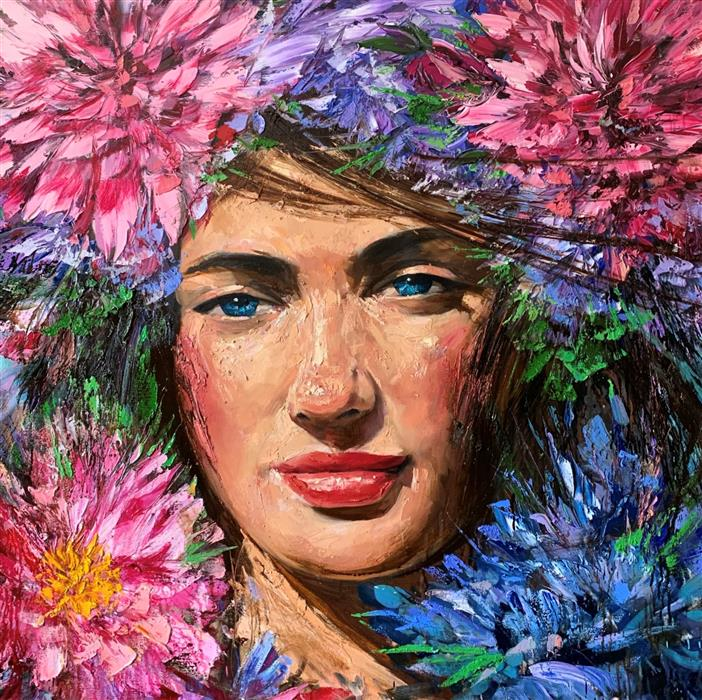 Original art for sale at UGallery.com   Paloma by Eric Alfaro   $5,600   oil painting   48' h x 48' w   ..\art\oil-painting-Paloma