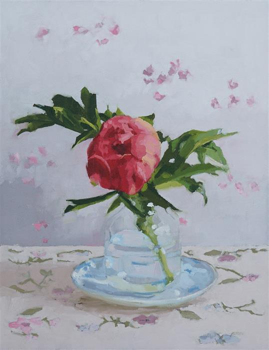 Original art for sale at UGallery.com | Peony I by Nicole Lamothe | $475 | oil painting | 14' h x 11' w | ..\art\oil-painting-Peony-I