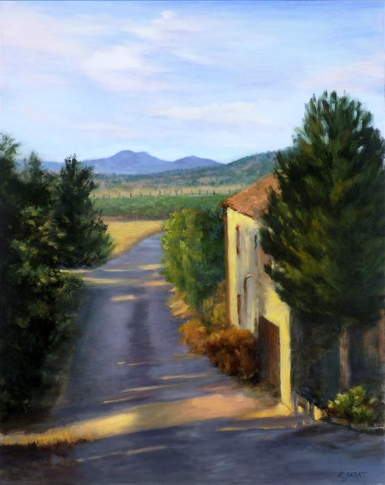 Original art for sale at UGallery.com | Tuscan Morning, Light on the Road by Elizabeth Garat | $1,625 | oil painting | 30' h x 24' w | ..\art\oil-painting-Tuscan-Morning-Light-on-the-Road