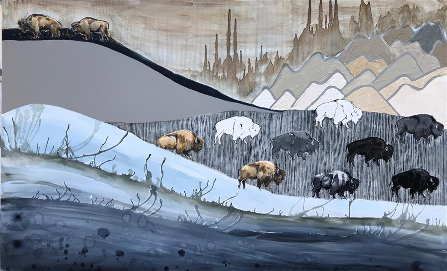 Original art for sale at UGallery.com   Migration by Alana Clumeck   $2,400   mixed media artwork   30' h x 48' w   ..\art\mixed-media-artwork-Migration