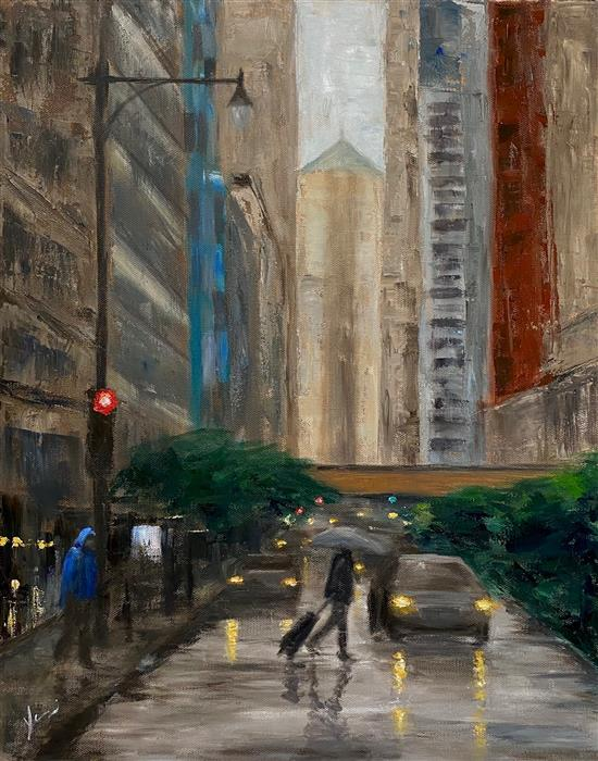 Original art for sale at UGallery.com | La Salle Street, Rainy Day by Yangzi Xu | $925 | oil painting | 20' h x 16' w | ..\art\oil-painting-La-Salle-Street-Rainy-Day