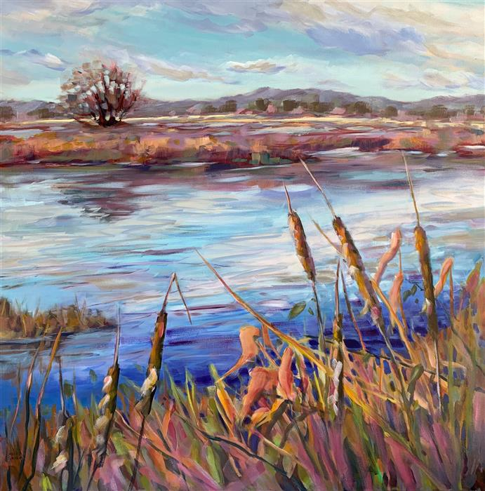 Original art for sale at UGallery.com | Cattail Haven by Melissa Gannon | $2,050 | acrylic painting | 36' h x 36' w | ..\art\acrylic-painting-Cattail-Haven