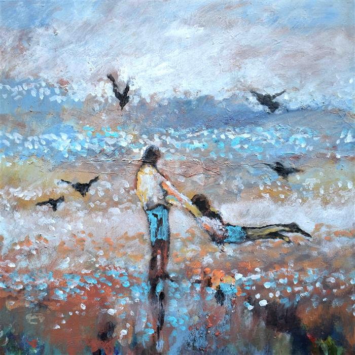 Original art for sale at UGallery.com | Flying with the Gulls by Kip Decker | $2,400 | acrylic painting | 30' h x 30' w | ..\art\acrylic-painting-Flying-with-the-Birds