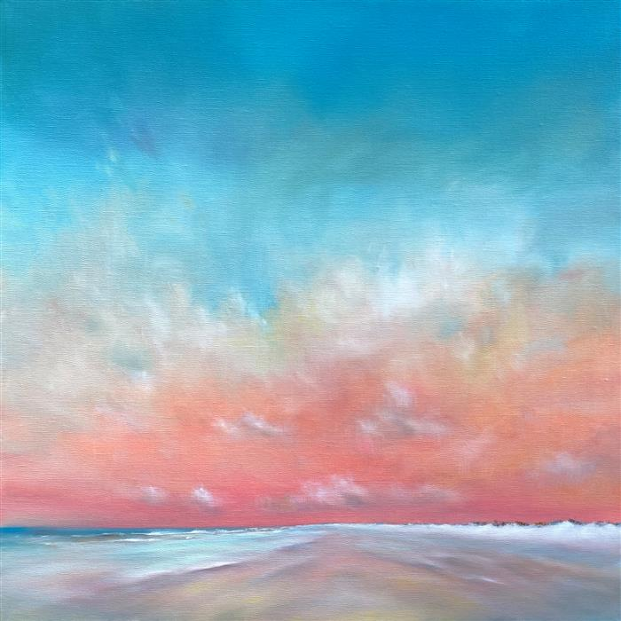 Original art for sale at UGallery.com | Morning Beach Glow by Nancy Hughes Miller | $1,100 | oil painting | 20' h x 20' w | ..\art\oil-painting-Morning-Beach-Glow