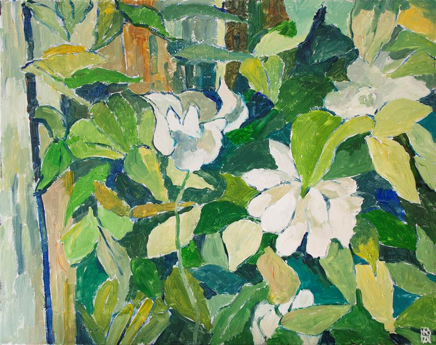 Original art for sale at UGallery.com   Clematis by Robert Hofherr   $1,075   acrylic painting   24' h x 30' w   ..\art\acrylic-painting-Clematis