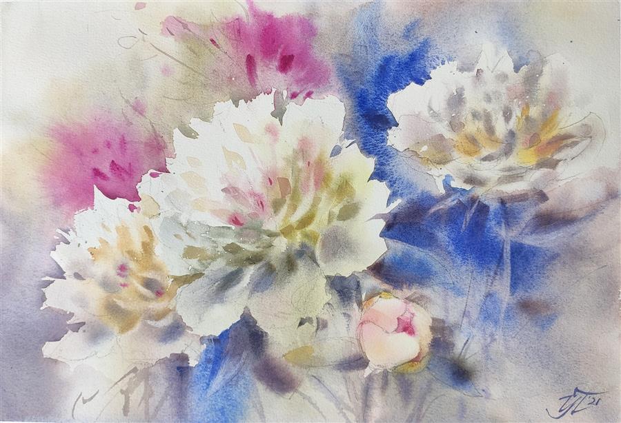 Original art for sale at UGallery.com | Ultramarine Dreams by Irina Pronina | $500 | watercolor painting | 10' h x 15' w | ..\art\watercolor-painting-Ultramarine-Dreams
