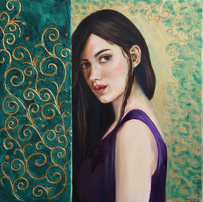 Original art for sale at UGallery.com | Hidden by Daniela Bini | $1,000 | mixed media artwork | 19.7' h x 19.7' w | ..\art\mixed-media-artwork-Hidden-71617
