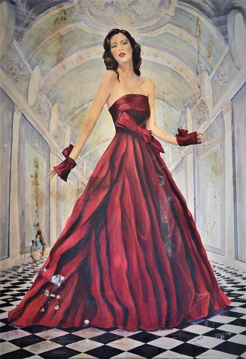 Original art for sale at UGallery.com | Decadence by Daniela Bini | $3,100 | mixed media artwork | 47.2' h x 31.5' w | ..\art\mixed-media-artwork-Decadence