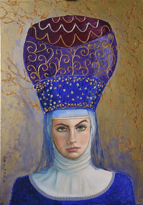 Original art for sale at UGallery.com | The Abbess by Daniela Bini | $1,000 | mixed media artwork | 27.5' h x 19.7' w | ..\art\mixed-media-artwork-The-Abbess
