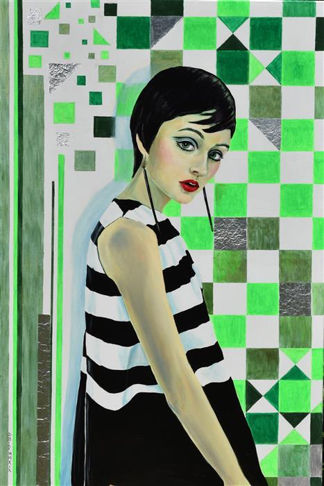 Original art for sale at UGallery.com | Sixties by Daniela Bini | $2,200 | mixed media artwork | 47.2' h x 31.5' w | ..\art\mixed-media-artwork-Sixties