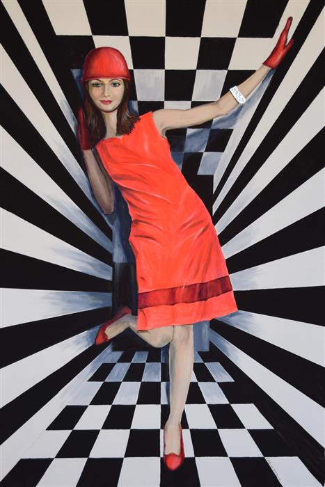 Original art for sale at UGallery.com | Optical Girl by Daniela Bini | $2,200 | acrylic painting | 47.2' h x 31.5' w | ..\art\acrylic-painting-Optical-Girl