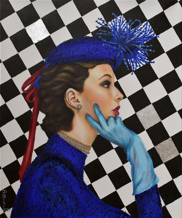 Original art for sale at UGallery.com | The Chess Player by Daniela Bini | $1,150 | mixed media artwork | 23.6' h x 19.7' w | ..\art\mixed-media-artwork-The-Chess-Player