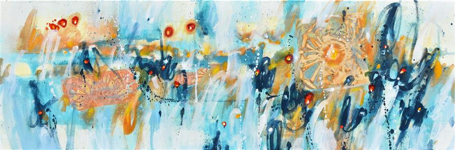 Original art for sale at UGallery.com | All Across The Universe by Cynthia Ligeros | $1,075 | oil painting | 12' h x 36' w | ..\art\oil-painting-All-Across-The-Universe