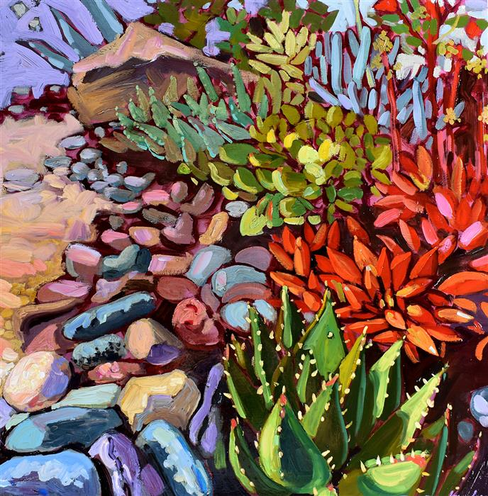 Original art for sale at UGallery.com | Succulent Summer by Tara Zalewsky-Nease | $1,050 | oil painting | 25' h x 25' w | ..\art\oil-painting-Succulent-Summer