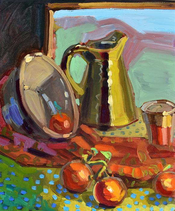 Original art for sale at UGallery.com | Summer Kitchen by Tara Zalewsky-Nease | $700 | oil painting | 20' h x 16' w | ..\art\oil-painting-Summer-Kitchen