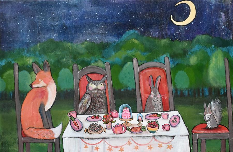 Original art for sale at UGallery.com | Moonlight Tea Party by Andrea Doss | $875 | acrylic painting | 20' h x 30' w | ..\art\acrylic-painting-Moonlight-Tea-Party