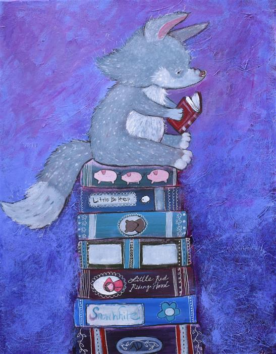 Original art for sale at UGallery.com   The Wolf's Reading List by Andrea Doss   $500   acrylic painting   20' h x 16' w   ..\art\acrylic-painting-The-Wolf-s-Reading-List