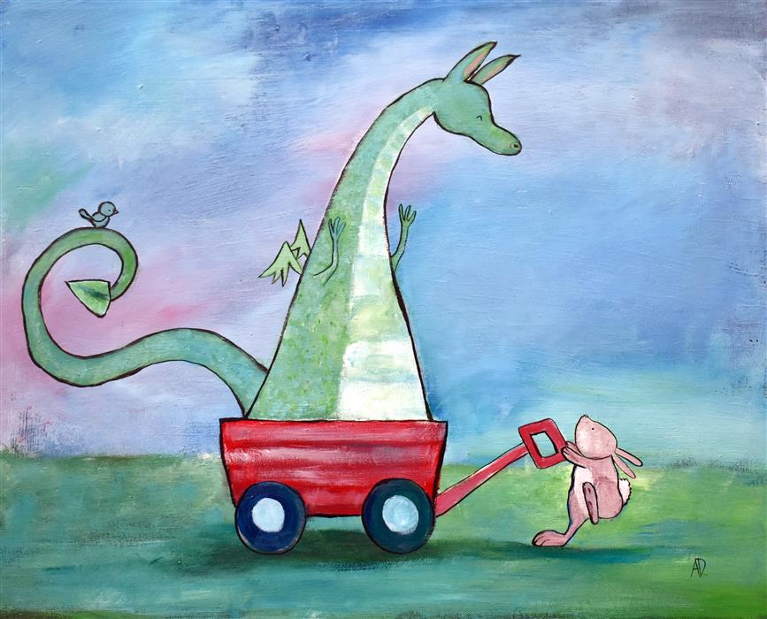 Original art for sale at UGallery.com   The Dragon Wagon by Andrea Doss   $500   acrylic painting   16' h x 20' w   ..\art\acrylic-painting-The-Dragon-Wagon