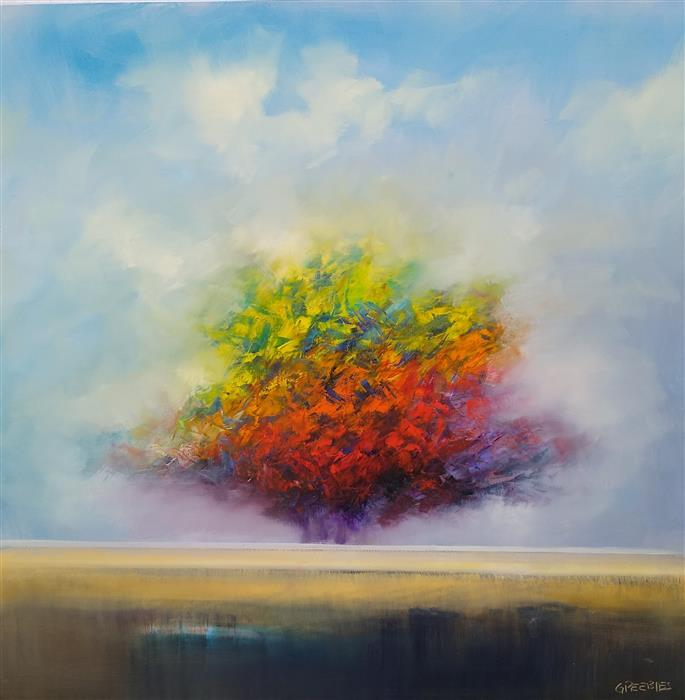 Original art for sale at UGallery.com | Autumn's Beautiful Day by George Peebles | $3,500 | oil painting | 48' h x 48' w | ..\art\oil-painting-Autumn-s-Beautiful-Day