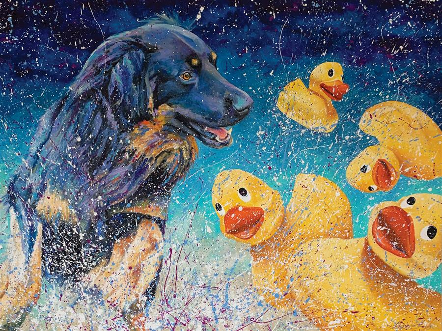Original art for sale at UGallery.com | Fowl Play by Jeff Fleming | $3,100 | oil painting | 36' h x 48' w | ..\art\oil-painting-Fowl-Play