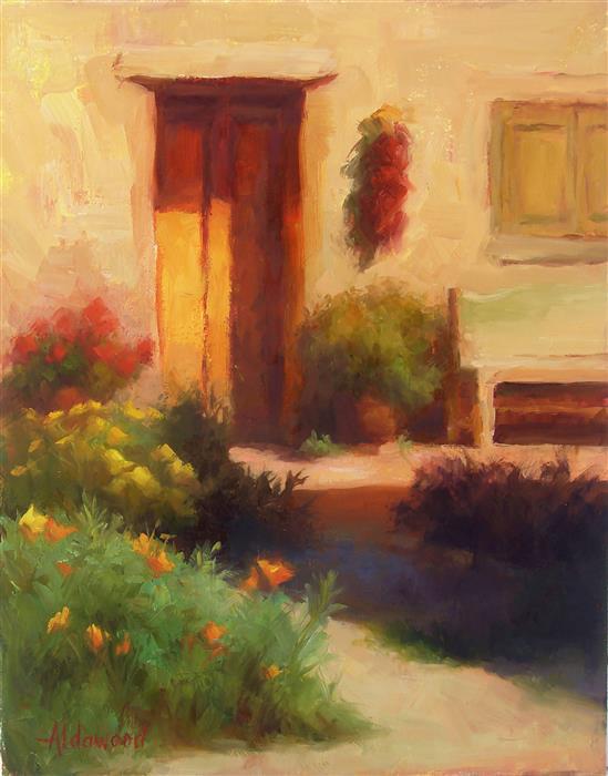 Original art for sale at UGallery.com   Taos Sunlight by Sherri Aldawood   $525   oil painting   14' h x 11' w   ..\art\oil-painting-Taos-Sunlight