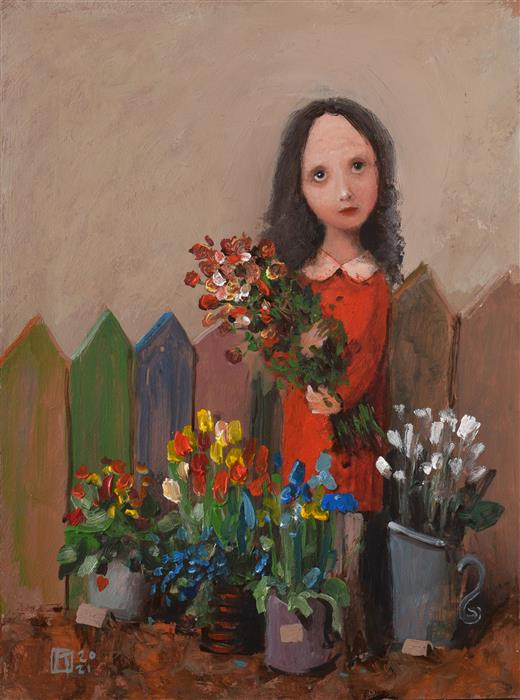 Original art for sale at UGallery.com | Little Florist by Krzysztof Iwin | $1,650 | acrylic painting | 15.7' h x 11.8' w | ..\art\acrylic-painting-Little-Florist