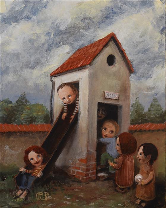 Original art for sale at UGallery.com | Backyard by Krzysztof Iwin | $2,100 | acrylic painting | 31.4' h x 15.7' w | ..\art\acrylic-painting-Backyard