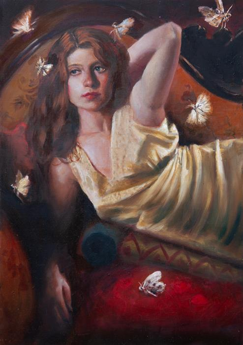 Original art for sale at UGallery.com | Woman with Moths by John Kelly | $2,800 | oil painting | 21.5' h x 15' w | ..\art\oil-painting-Woman-with-Moths