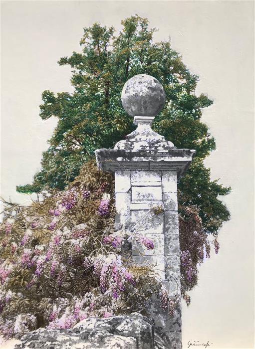 Original art for sale at UGallery.com   Pilastro con Vegetazione by Simone Giaiacopi   $600   mixed media artwork   15.7' h x 11.8' w   ..\art\mixed-media-artwork-Pilastro-con-Vegetazione