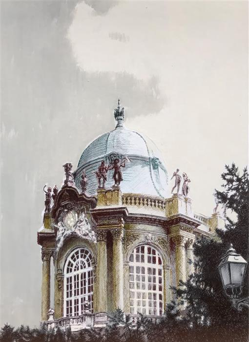 Original art for sale at UGallery.com   Cupola by Simone Giaiacopi   $750   mixed media artwork   15.7' h x 11.8' w   ..\art\mixed-media-artwork-Cupola