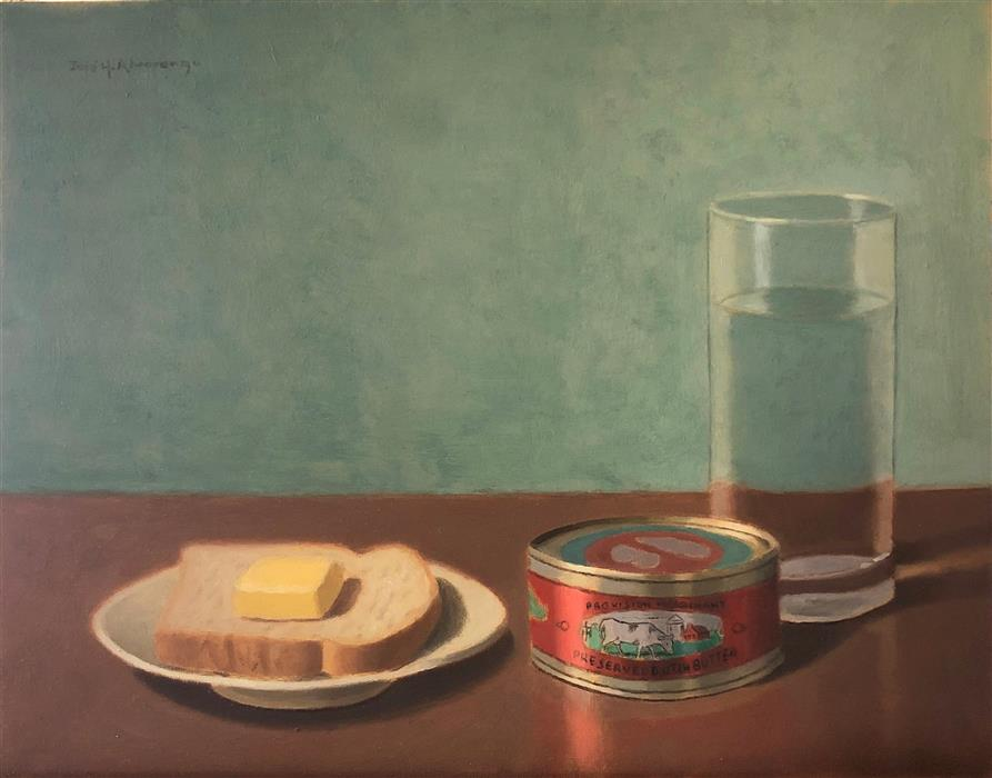 Original art for sale at UGallery.com | Bread and Butter by Jose H. Alvarenga | $675 | oil painting | 11' h x 14' w | ..\art\oil-painting-Bread-and-Butter