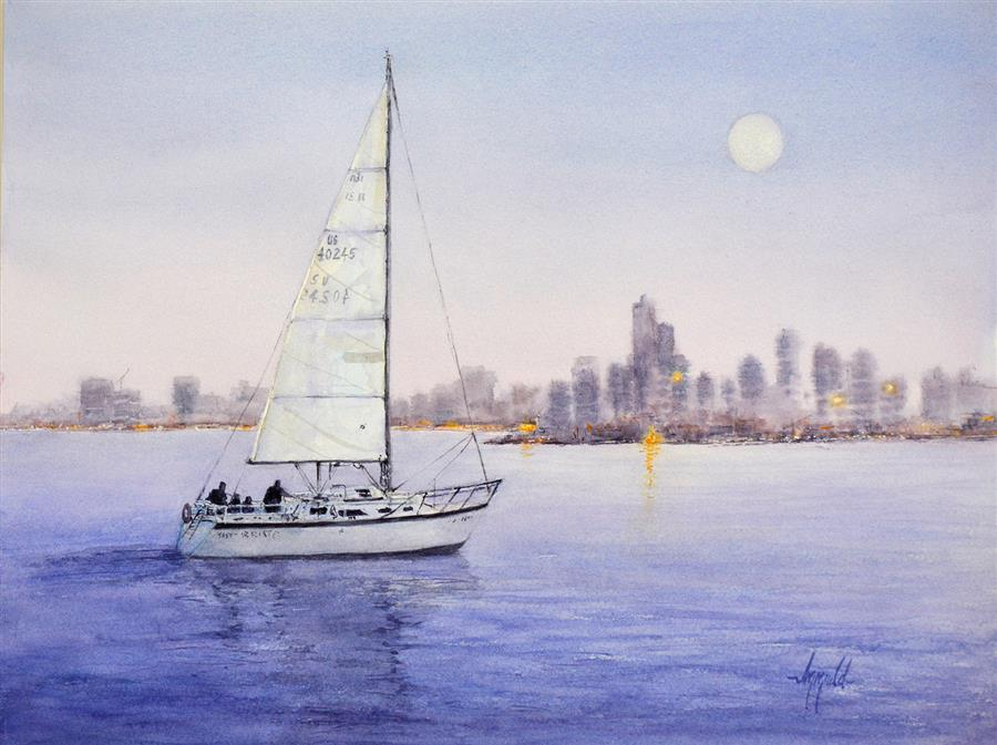 Original art for sale at UGallery.com | Moonglow Chicago by Judy Mudd | $950 | watercolor painting | 12' h x 16' w | ..\art\watercolor-painting-Moonglow-Chicago