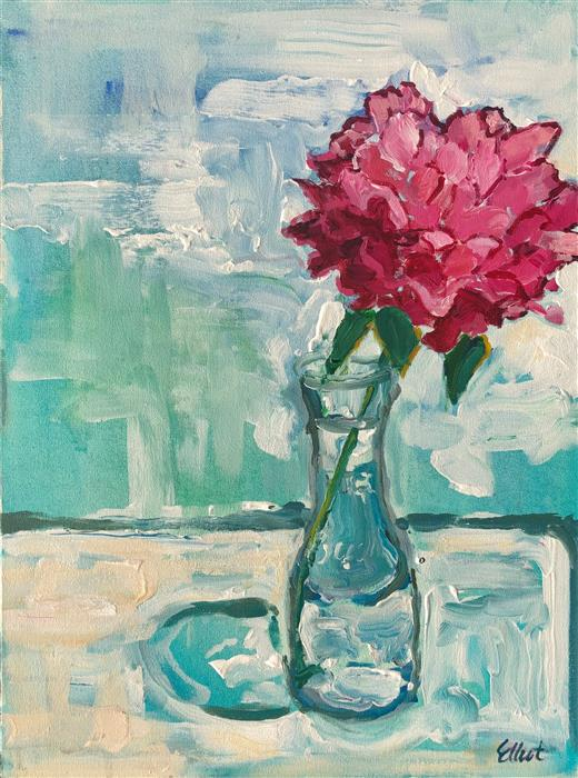 Original art for sale at UGallery.com | Single Peony in a Vase by Elliot Coatney | $525 | acrylic painting | 24' h x 18' w | ..\art\acrylic-painting-Single-Peony-in-a-Vase